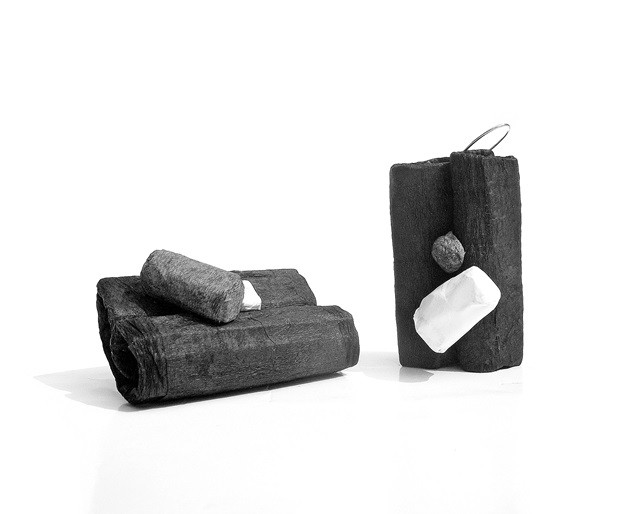 folds black and white - earrings - chubby collection