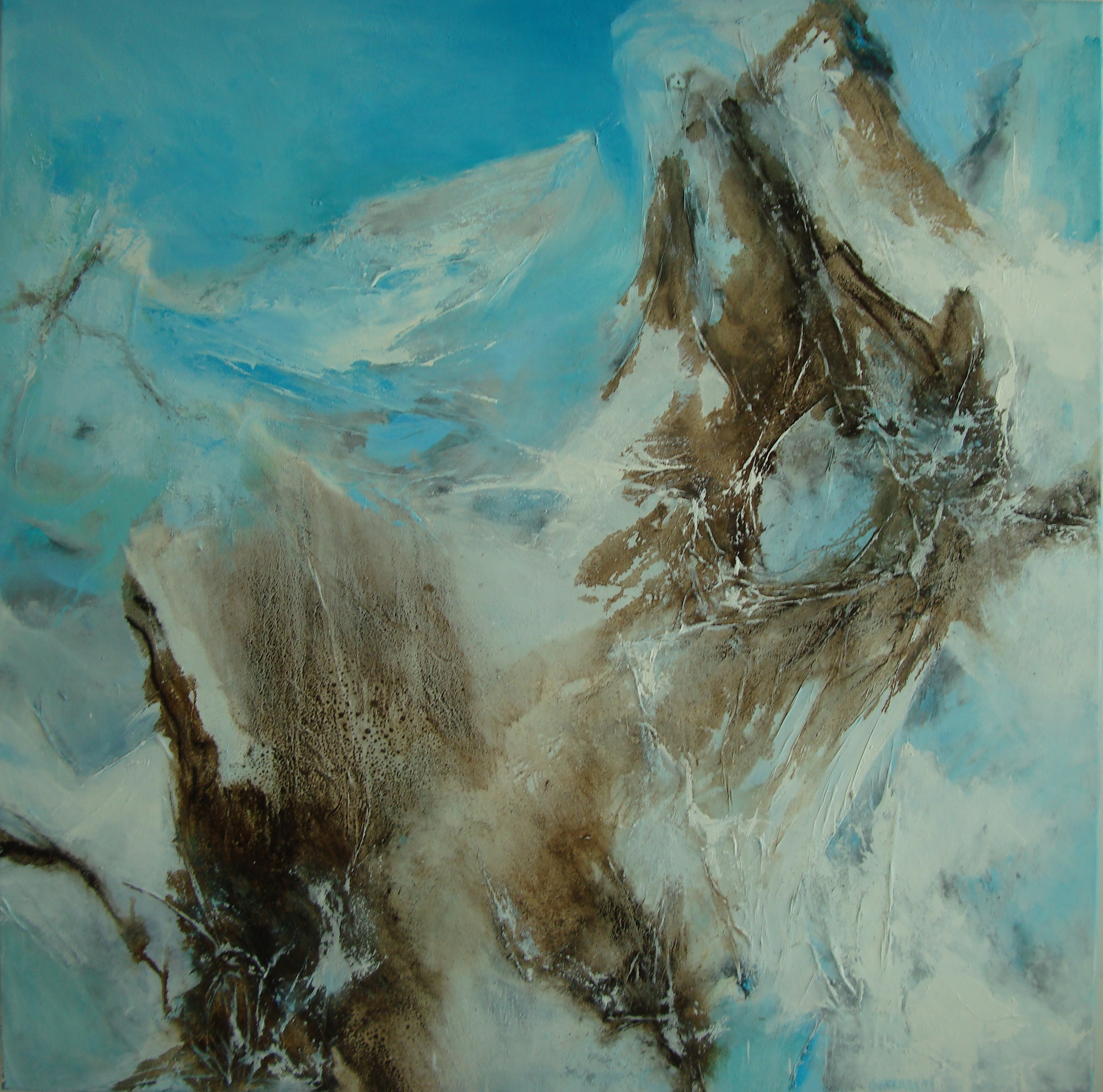 Aska og ísbráð- Ash and melting ice, 150 x 150 cm.