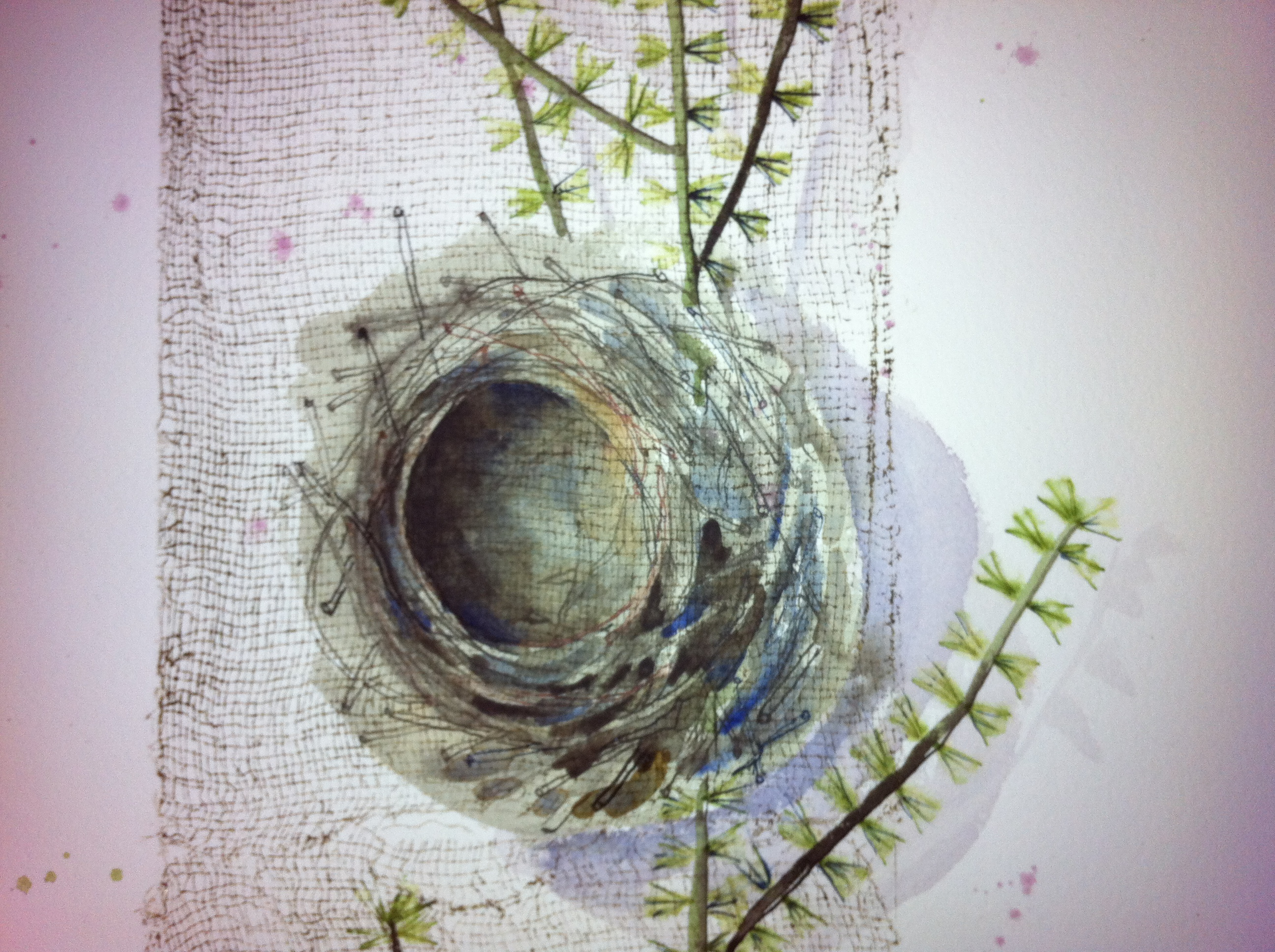 FRAGILITY Nest DETAIL Collograph and Ink Drawing 2012