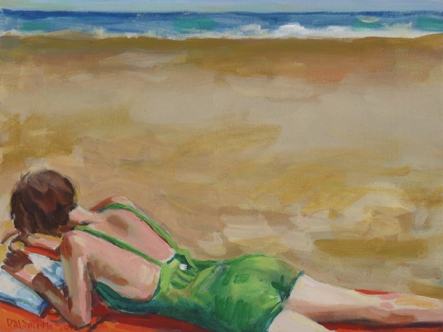 Beach Read oil on canvas 16 x 20 inches