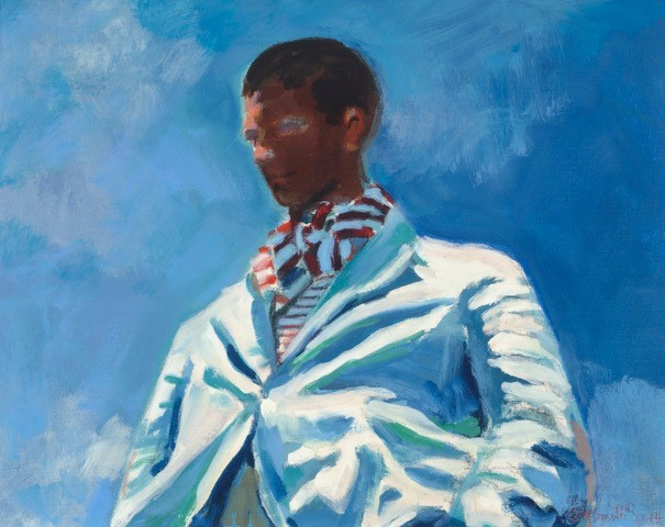 F.E.S Striped Ascot oil on linen 22 x 28 inches