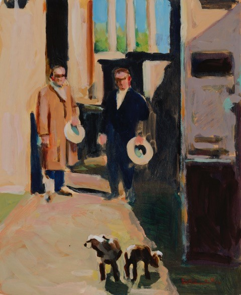 Two Men Two Dogs oil on paper 14 x 11 inches
