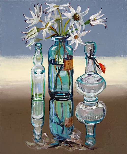 CHRISTINE WEBB 3 Bottles with Flannel Flowers, 30.5x25.5cm e