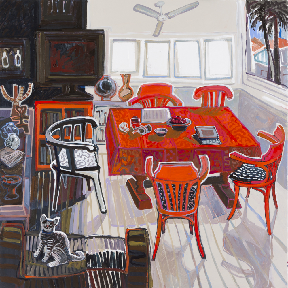 CHRISTINE WEBB Red Table 137x137cm e