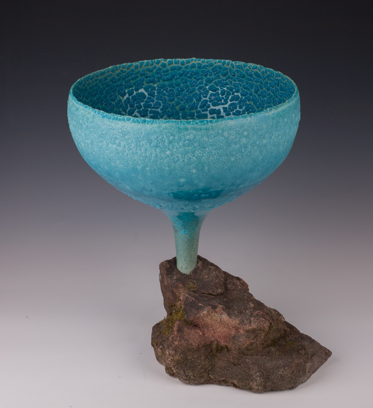Chalice mounted in rock by Mary Fox