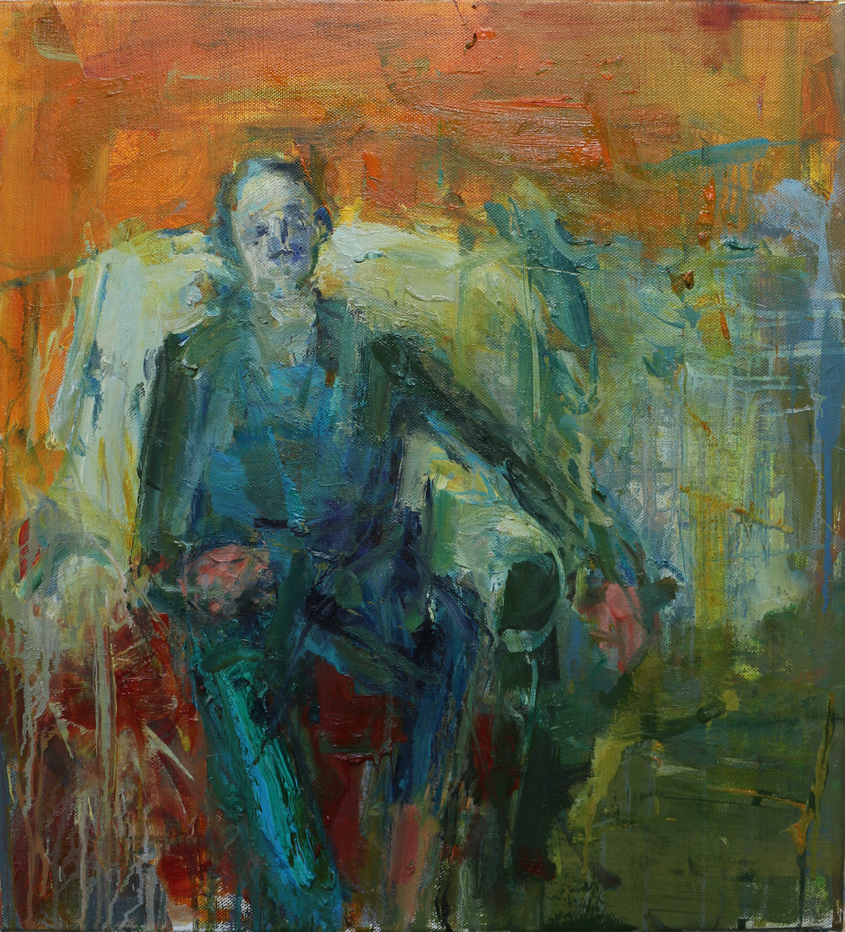 Union Gallery Exhibition - Seated Man - Orange Wall