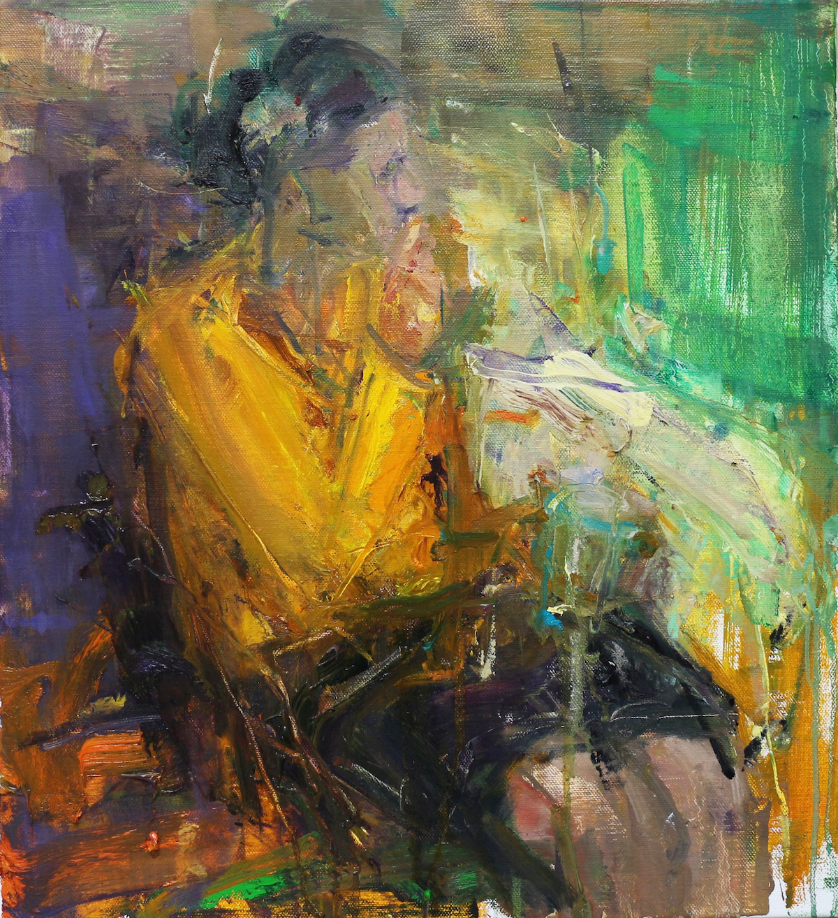 Union Gallery -Woman in Yellow Top holding Cup