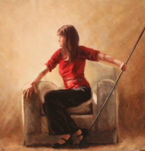 Artemis (Self Portrait), 50x50cm, Oil on canvas