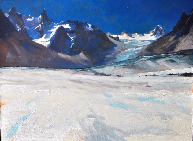 Glacier Tacul from the Mer de Glace, oil on acrylic on board 30x42cm
