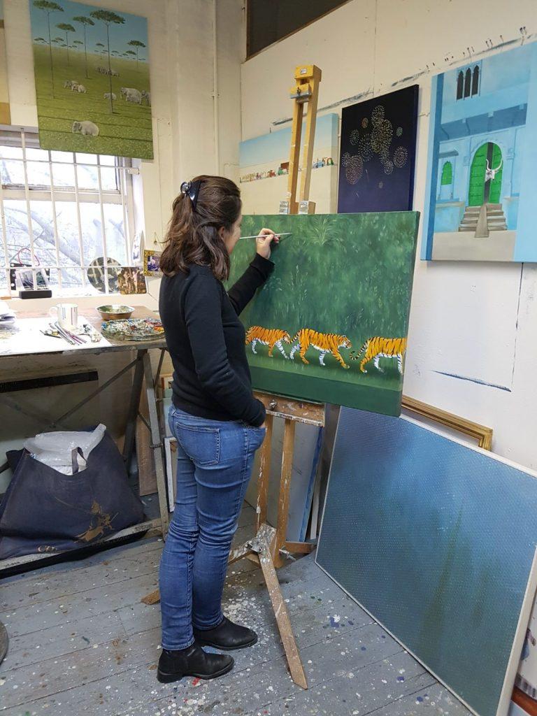 Rebecca Campbell in her studio