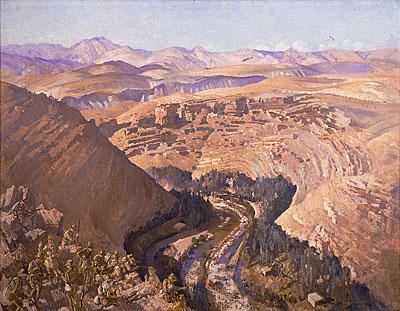 Barada Gorge, 30 Sept 1918, 1021,1927, oil on canvas 72 x 92 cm Australian War Memorial, Canberra