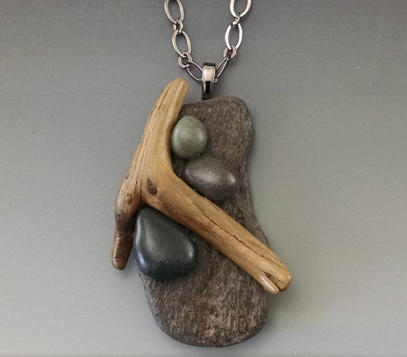 driftwood and beach stone pendant by Deborah Smith, 18b2 copy for zoa