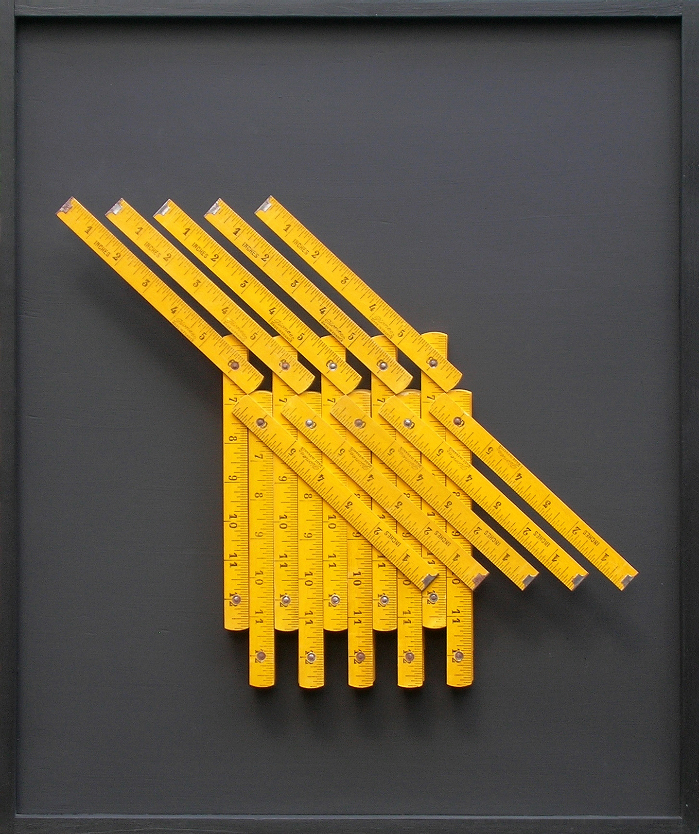 Miles Allen-Pioneer (2012) Rulers on board. 53x44cm