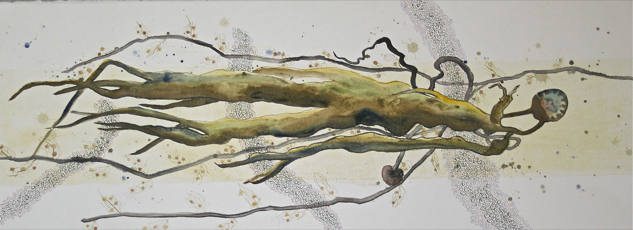 FRAGILITY Illuminating the subtle depths 2012 collograph pen ink and watercolour 28x76