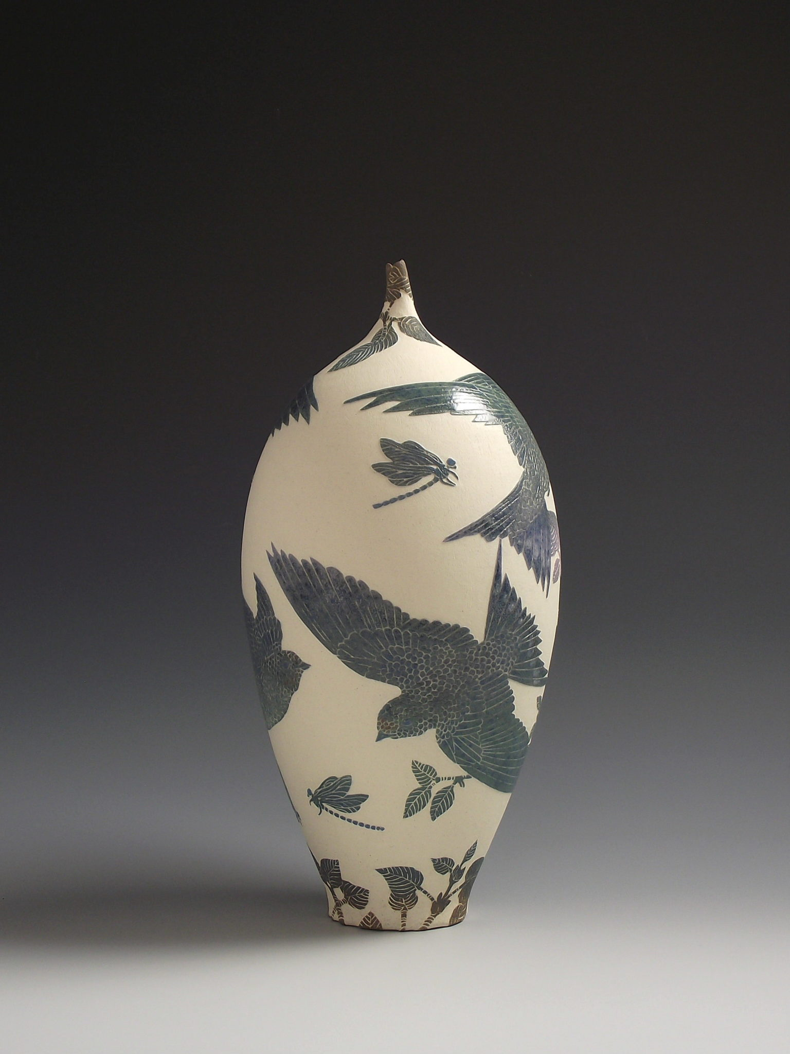 swallow & damselfly vessel