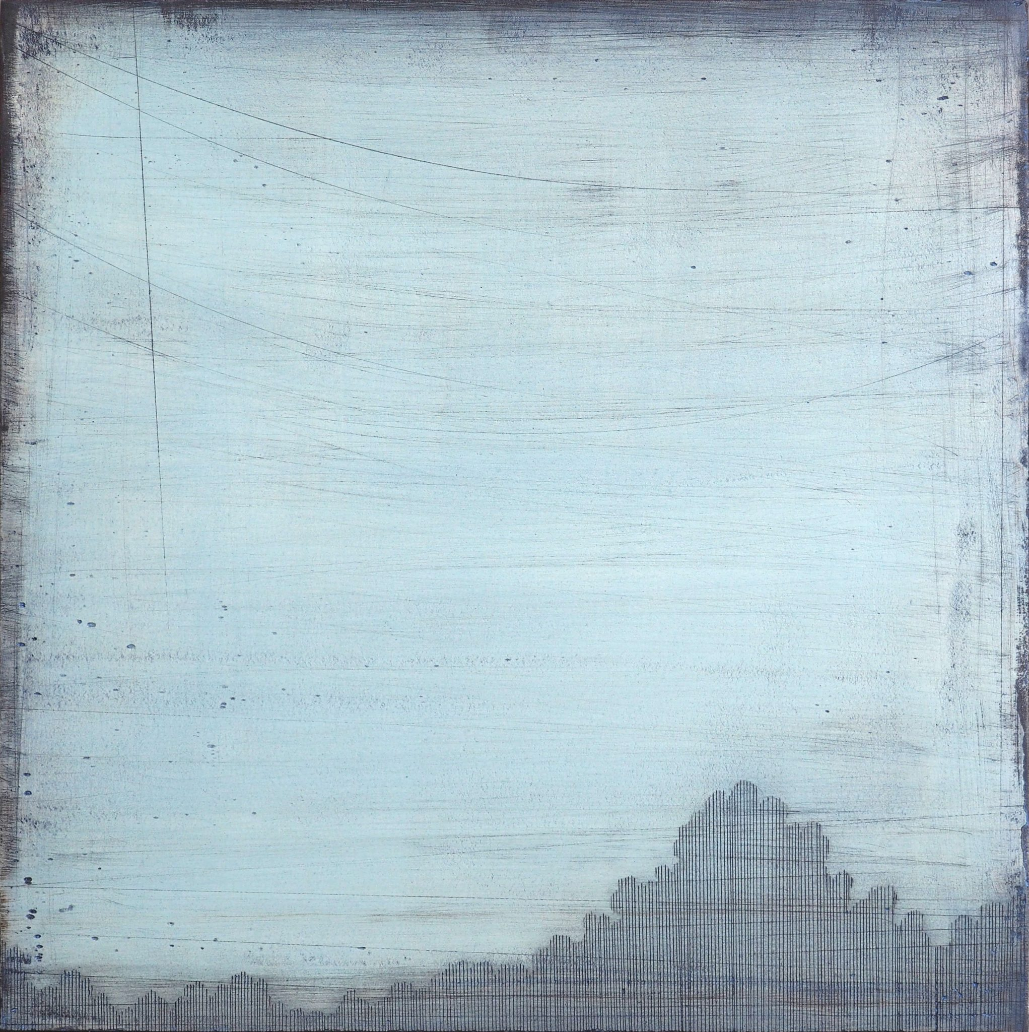 Celadon Sky II 30x30cm acrylic and plaster on board