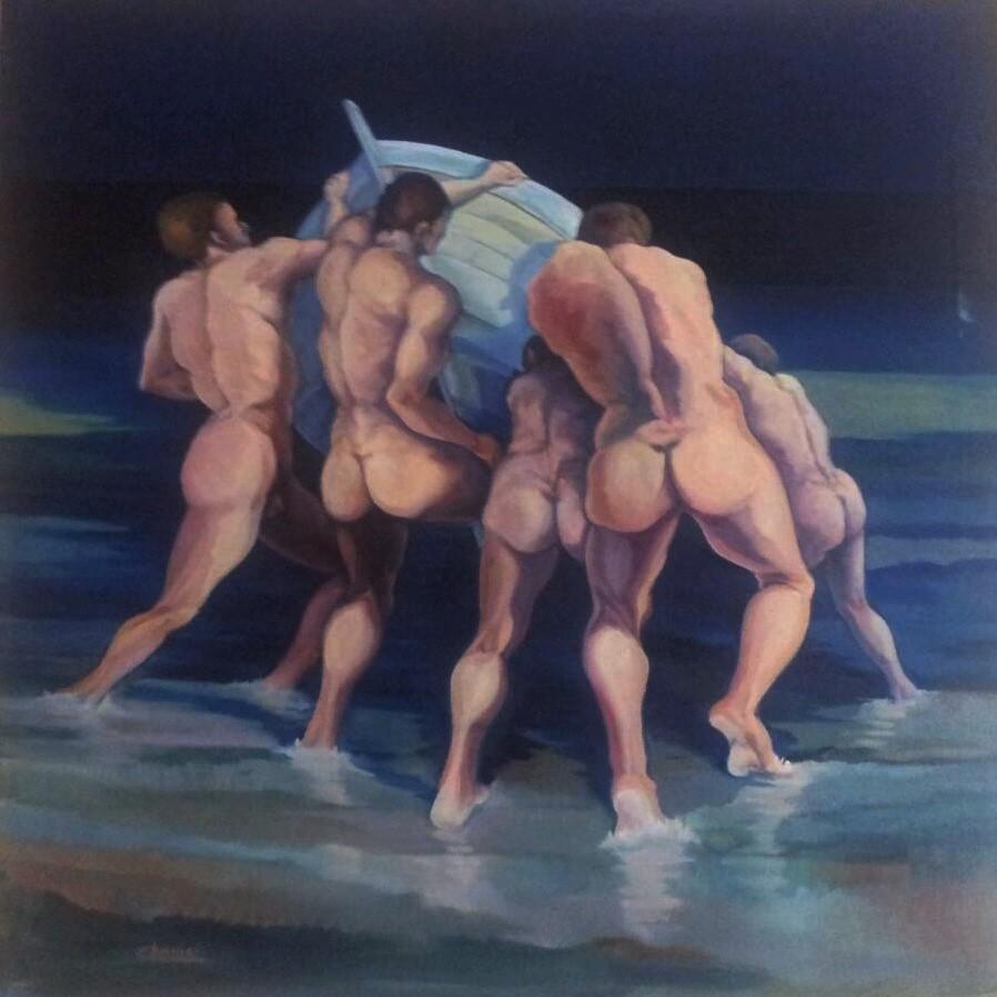 5 Fishermen - oil on canvas 90x130