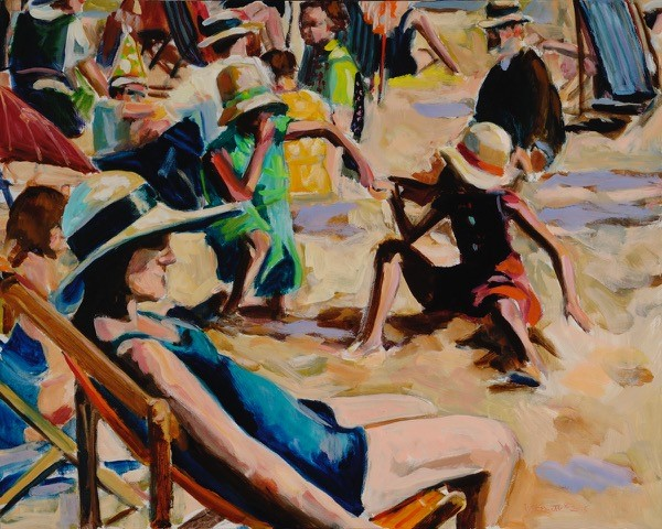 A day at the Beach oil on canvas 24 x 30 inches