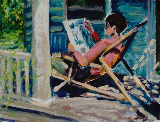 Porch Read Oil on Canvas 20 x 26 inches