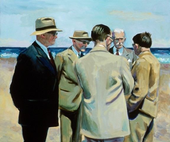five Suits Oil on Canvas 34 x 40 inches