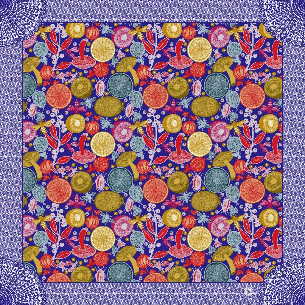 N°10 Silk satin scarf -Salade de fruit