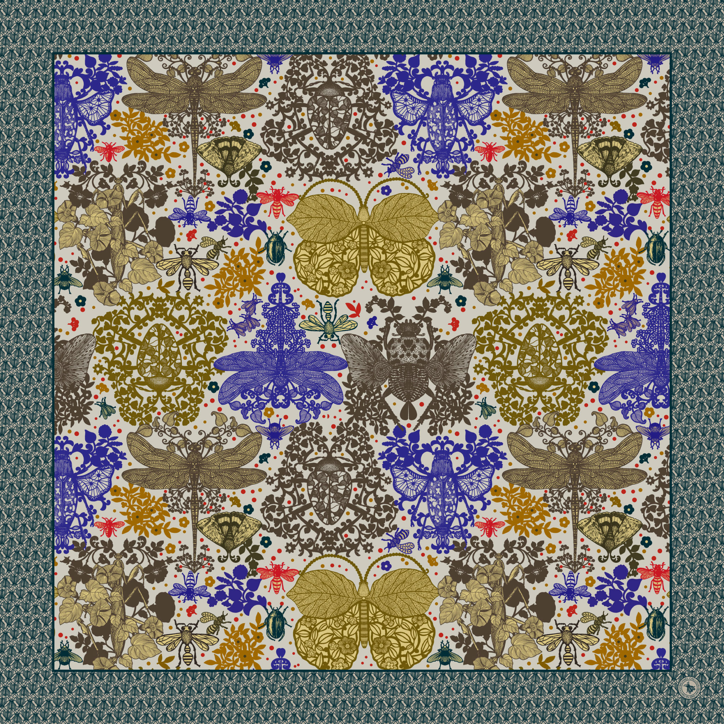 N°9 Silk satin scarf -Florilege