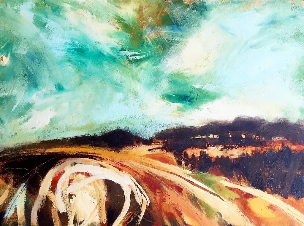Off the Beaten Track, oil over acrylic on canvas, 120x91cm