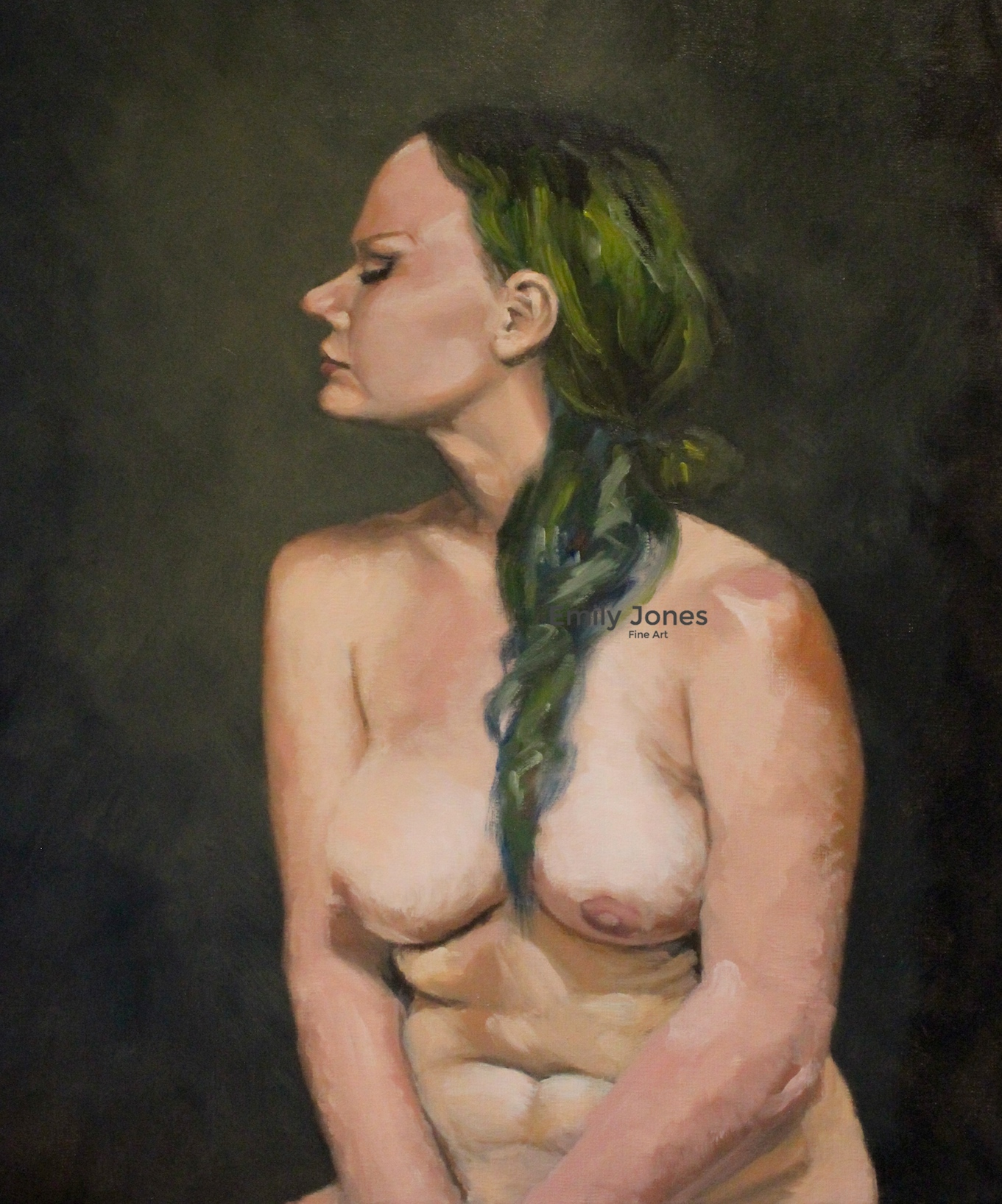 Nude With Green Hair, 40x50cm, Oil on linen